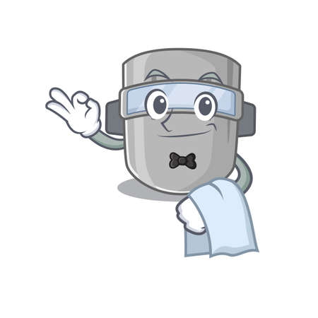A cartoon picture of welding mask waiter with a white napkin