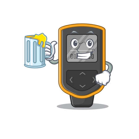 A cartoon concept of dive computer toast with a glass of beer