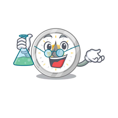 Super Genius Professor of old kitchen timer Caricature character working on a lab