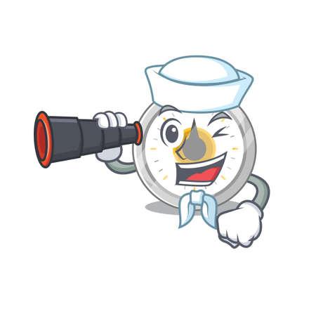 A cartoon image design of old kitchen timer Sailor with binocular Vetores