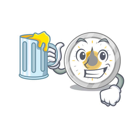 A cartoon concept of old kitchen timer toast with a glass of beer