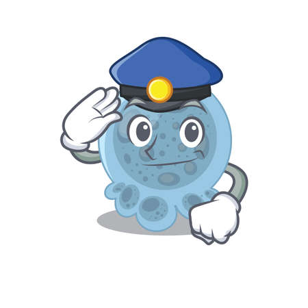 A handsome Police officer cartoon picture of pasteurella with a blue hat Vettoriali