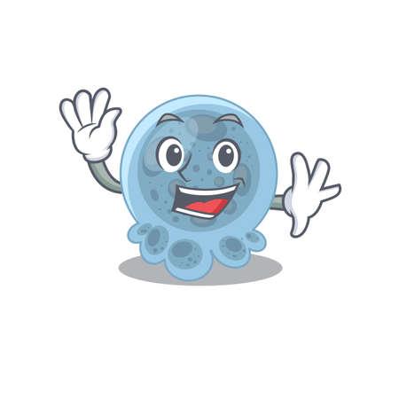 A charismatic pasteurella mascot design concept smiling and waving hand
