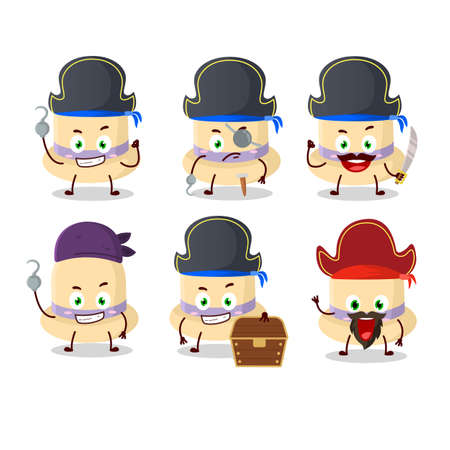 Cartoon character of summer hat with various pirates emoticons Çizim