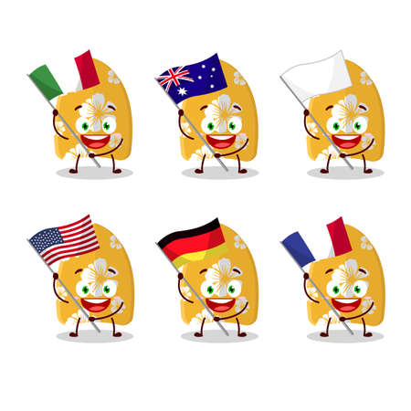 Surfing board cartoon character bring the flags of various countries
