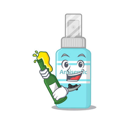 A caricature design style of antiseptic cheers with a bottle of wine
