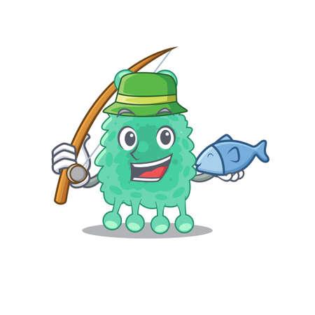 Cartoon design style of azotobacter vinelandii goes to fishing