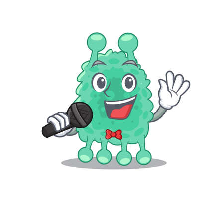 cartoon character of azotobacter vinelandii sing a song with a microphone