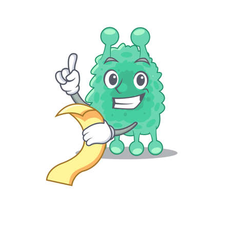 Azotobacter vinelandii mascot character style with a menu on his hand