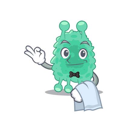 A cartoon picture of azotobacter vinelandii waiter with a white napkin Ilustracja