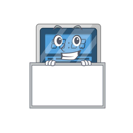Digital timer cartoon design style standing behind a board