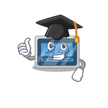 Happy proud of digital timer caricature design with hat for graduation ceremony