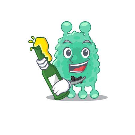 caricature design concept of azotobacter vinelandii cheers with bottle of beer