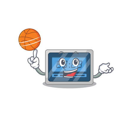 Sporty cartoon mascot design of digital timer with basketball