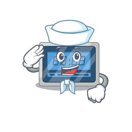 Smiley sailor cartoon character of digital timer wearing white hat and tie