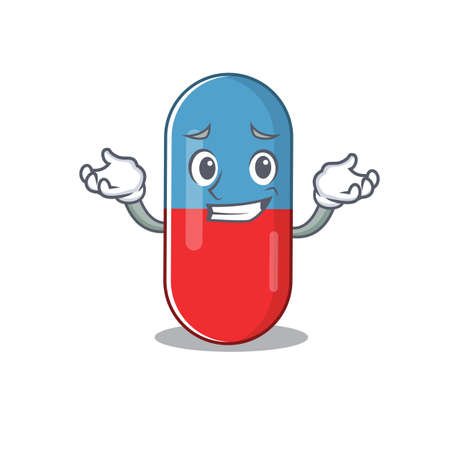 A sweet picture of grinning pills drug caricature design style Vector Illustration