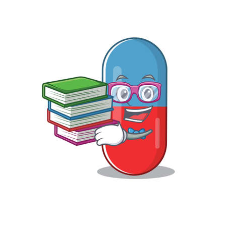Pills drug student mascot design read many books when study at home