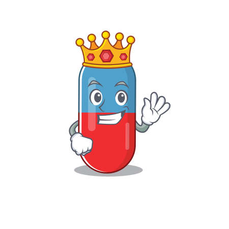 A humble King of pills drug caricature design style with gold crown Vector Illustration