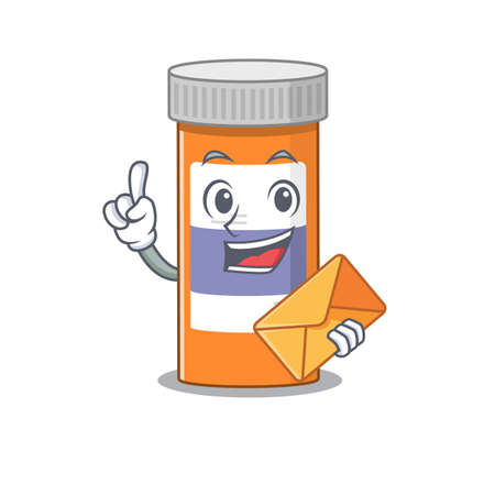 A picture of cheerful pills drug bottle caricature design concept having an envelope