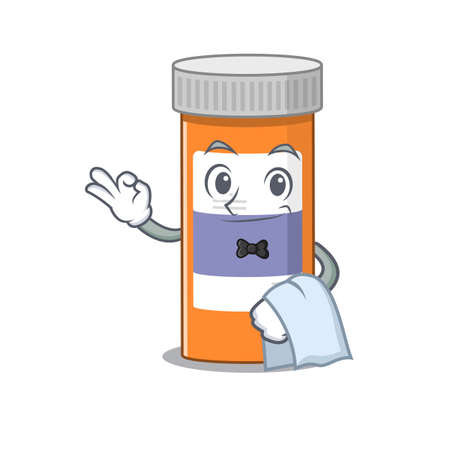 A Caricature design style of pills drug bottle as a waiter with a white napkin Ilustracja