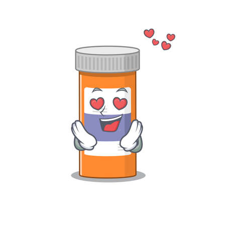 A passionate pills drug bottle cartoon mascot concept has a falling in love eyes