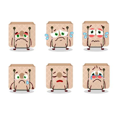 Women sling bag cartoon character with sad expression Vecteurs