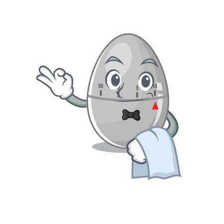 A cartoon picture of egg kitchen timer waiter with a white napkin Ilustracja