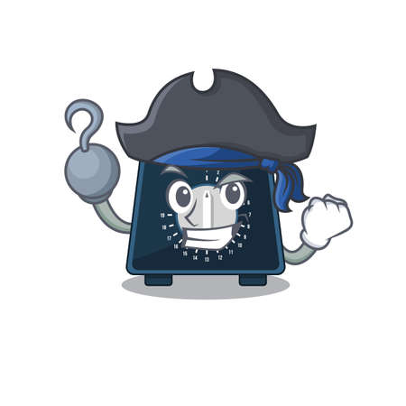 Kitchen timer cartoon design in a Pirate character with one hook hand