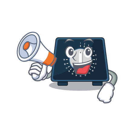 Mascot design of kitchen timer announcing new products on a megaphone