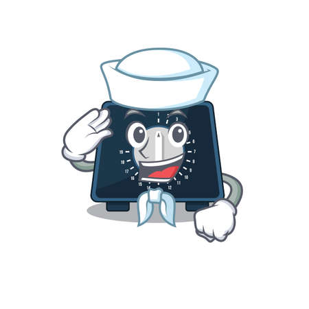 Smiley sailor cartoon character of kitchen timer wearing white hat and tie