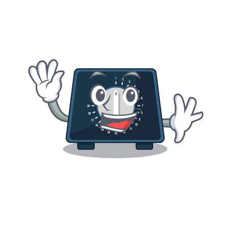 A charming kitchen timer mascot design style smiling and waving hand Vektorové ilustrace
