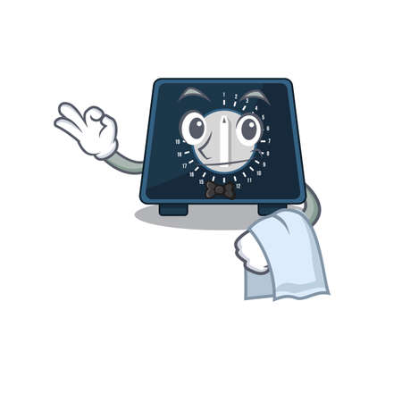 A cartoon picture of kitchen timer waiter with a white napkin Ilustracja