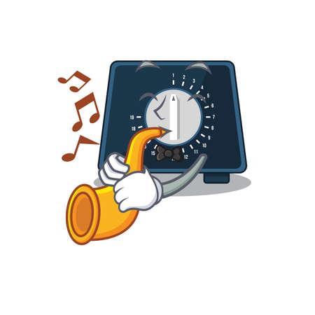 Kitchen timer musician of cartoon design playing a trumpet 矢量图像
