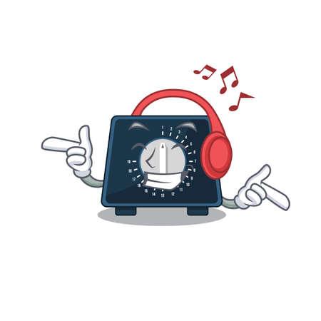 Kitchen timer Cartoon design concept listening music on headphone