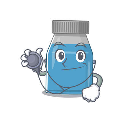 A dedicated syrup medicine doctor caricature design working with tools