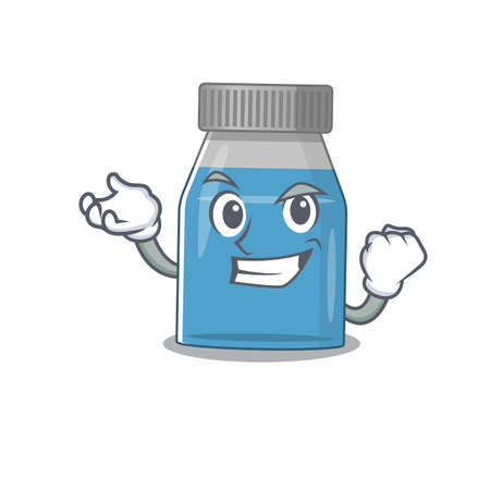 A caricature design concept of syrup medicine with happy face Vector Illustration