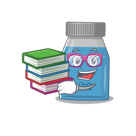 Syrup medicine student mascot design read many books when study at home Vectores