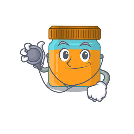 Smiley doctor cartoon character of honey jar with tools