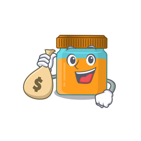 Crazy rich honey jar mascot design having money bags