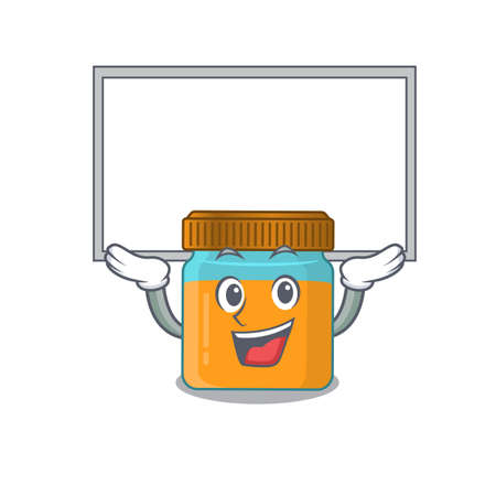 Caricature character of honey jar succeed lift up a board