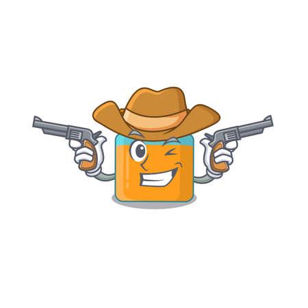 Cartoon character cowboy of honey jar with guns Vetores