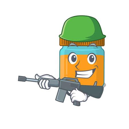 A cartoon picture of Army honey jar holding machine gun