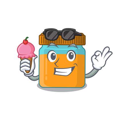 A cartoon drawing of honey jar holding cone ice cream