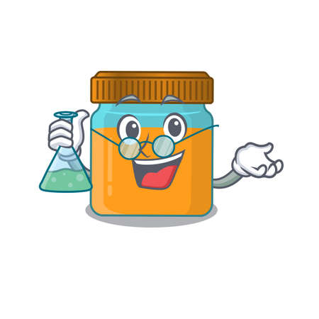 caricature character of honey jar smart Professor working on a lab