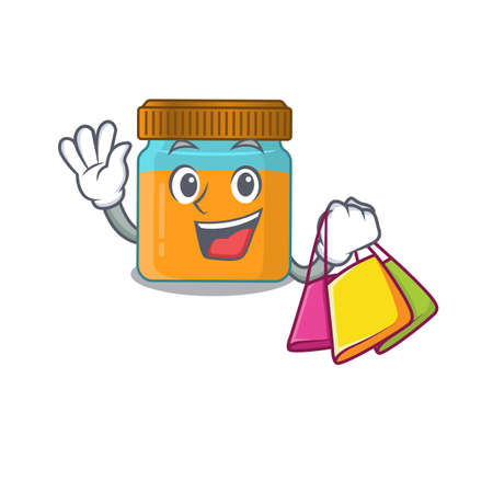 wealthy honey jar cartoon character with shopping bags