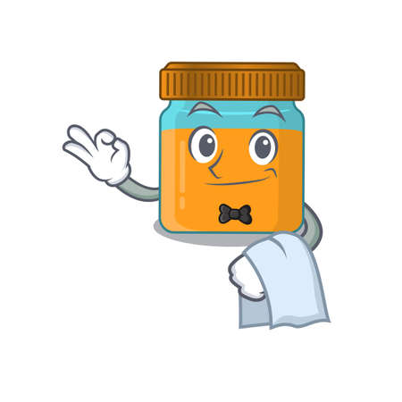 A cartoon picture of honey jar waiter with a white napkin Ilustracja