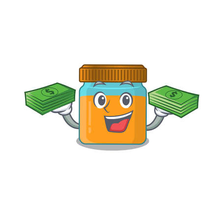 A wealthy honey jar cartoon character with much money