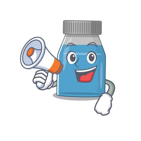 Syrup medicine carton picture style giving announcement on a megaphone Illusztráció