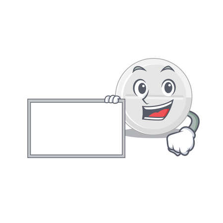 Cartoon character style of tablet drug holding a white board
