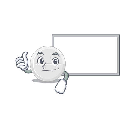 Tablet drug Caricature character design style with a white board Vector Illustration